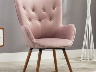 Roundhill Furniture Doarnin Contemporary Silky Velvet Tufted Button Back Accent Chair  Mauve