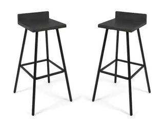 Bidwell Contemporary Indoor Acacia Wood Bar Stools  Set of 2  by Christopher Knight Home   dark grey finish   black metal