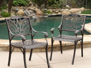 Alfresco Outdoor Cast Aluminum Dining Chair Chair  Set of 2  by Christopher Knight Home