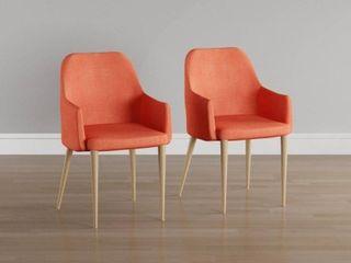 Carson Carrington Pori Mid century Modern Fabric Dining Chair  Set of 2    Orange
