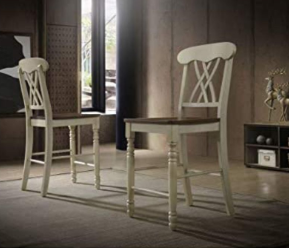 Hommax Counter Height Chairs  Set of 2    Brown White