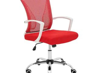 Modern Home Zuna Mid back Office Chair   White Red