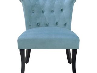 Rolled Tufted Velvet Accent Chair   Sky Blue