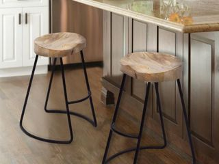 Classy Wooden Barstool with Iron legs