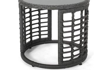 Noble House Furnishing Grey Wicker Outdoor Side Table