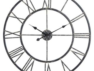 Utopia Alley Cl42BK 27 in  Oversized Roman Round Wall Clock  Black Distressed