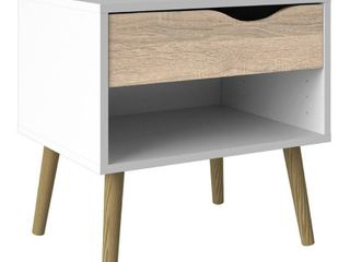 Oslo Bedside 1 Drawer in White and Oak