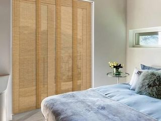 GoDear Design Deluxe Adjustable Sliding Panel 45 8 86  x 96  4 Rail  Natural Woven Fabric  Semi Privacy  Breeze
