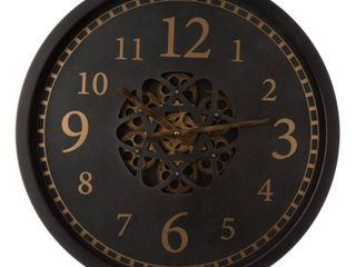 Modern Oversized Metal Wall Clock with Moving Gears   Multi Colored