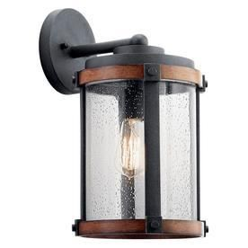 Kichler lighting Barrington Distressed Black and Wood Outdoor Wall light