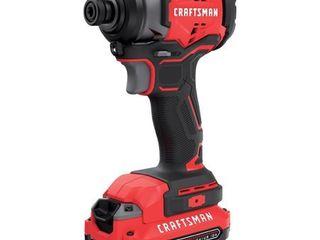 Craftsman 20V MAX 1 4 in  Hex Cordless Brushless Impact Driver Kit 1500 in lb