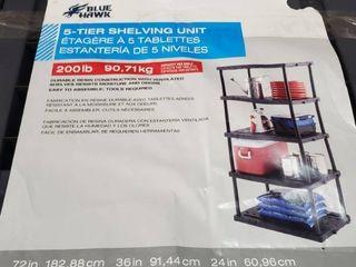 Blue Hawk D 5 tier Plastic Freestanding Shelving Unit 72 in H X 24 in W X 36 in