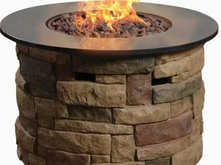 Canyon Ridge Fire Table Bond Signature 36 6 in W 50000 BTU Brown Composite Fire Table