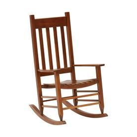 Garden Treasures Natural Wood Slat Seat Outdoor Rocking Chair