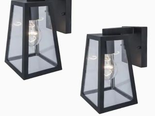 Project Source Wall lanterns Clear Glass Black Finish 2ct
