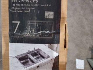 Elkay 33 l x 22  W x 7  D Top Mount Double Bowl Sink Kit 22gauge Stainless Steel Four Faucet Holes