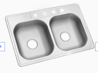 Kingsford Satin Double basin Drop in 4 hole Residential 33 x22 x6  Damaged