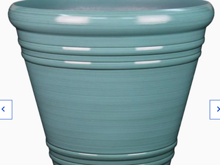 Style Selections 20 04 in W X 17 36 in H Spa Blue Resin Planter lightweight