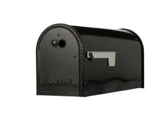 Gibraltar Mailboxes Edwards large Capacity Galvanized Steel Black Post Mount Mailbox  EM160B00