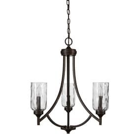 allen   roth latchbury 21 94 in 3 light Aged bronze Craftsman Textured Glass Shaded Chandelier