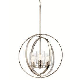Kichler 20 in Polished nickel Art Deco Hardwired Single Clear Glass Orb Standard Pendant