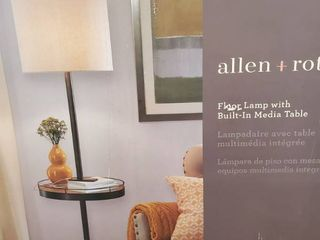Allen   Roth 62 5 in Satin Nickel Shaded Floor lamp With Fabric Shade Built in Media Table