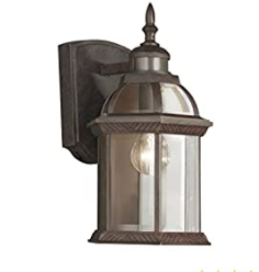 Portfolio 14 5 in H Rust Motion Activated Outdoor Wall light Porch lantern
