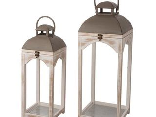 Glitzhome Set of 2 Farmhouse Wooden lanterns  Retail 84 99
