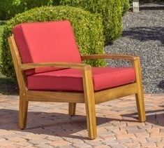 Grenada Outdoor Wooden Club Chair with Cushions  1 Chair  by Christopher Knight Home  Retail 382 33