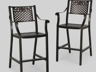 Tahoe Outdoor 29  Aluminum Barstool  Set of 2  by Christopher Knight Home