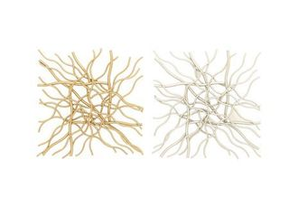Set of 2 Contemporary 20 Inch Crooked Wires Wall Decor by Studio 350  Retail 85 49