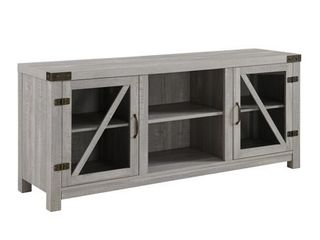 BOWERY HIll Rustic Farmhouse Barn Door 58  TV Stand Console in Stone Grey