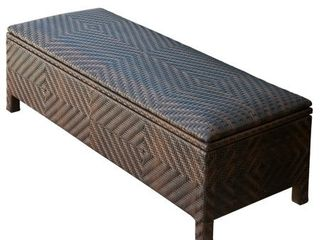 Santiago Brown Wicker Storage Ottoman by Christopher Knight Home  Missing Hinge Pins    Retail 237 00