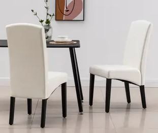 Modern Faux leather  2 Chairs  Dining Room Chairs  Eggshell  Retail 222 49