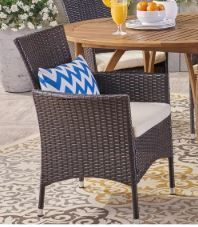 Albury Outdoor Acacia Wood and Wicker Dining Chair by Christopher Knight Home