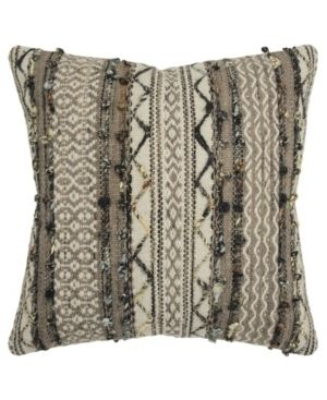 Rizzy Home Stripe Gray Decorative Down Filler Pillow   20 x20