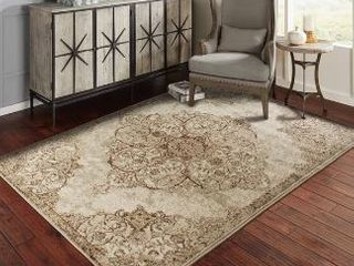 Copper Grove Pori Distressed Brown and Beige Medallion Area Rug  8  x 11  Retail 113 99