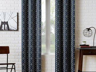Sun Zero Kenwood Chevron Blackout Grommet Curtain Panel  Navy  40  x 84   Set of 2