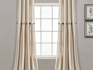 lush Decor linen Button Single Panel Window Curtain  84 l x 40 w  Set of 2