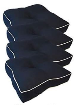 Suntastic Indoor  Outdoor Navy Textured Seat Cushions  Navy  Set of 4  Retail 78 48