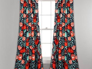 Porch  amp  Den Egger Poppy Patterb Room Darkening Curtain Panel Pair  108 l x 52 W