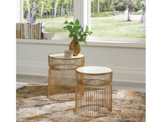 Vernway White Gold Finish Accent Table   Set of 2   Damaged  Retail 197 64
