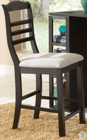 single black wood dining chair with grey seat