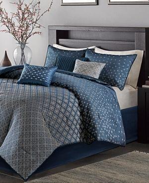 Madison Park Morris Navy 7 Piece Comforter Set Cal King  Retail 112 49