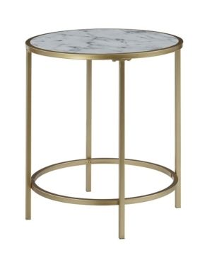 Convenience Concepts Gold Coast Deluxe Faux Marble Round End Table  20 25l x 20 25 W x 22 H