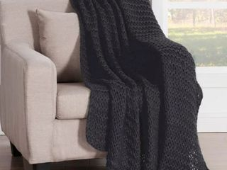 Five Queens Court leon Chunky Knitted luxury Throw  Black
