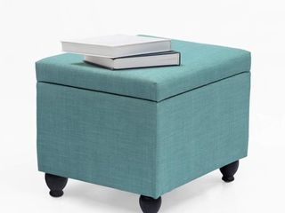 Adeco Classic Rectangular Ottoman Bench with large Storage  21 5x17 5x18 5  Turquoise Blue  Retail 99 99