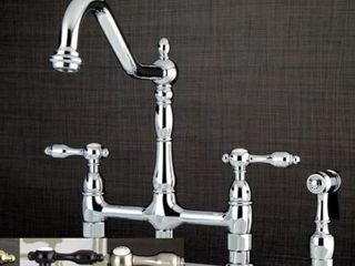 Victorian High Spout lever Handles Bridge Kitchen Faucet with Side Sprayer  Retail 235 99