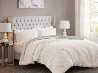 Madison Park Colden Ivory  Grey Reversible Textured Sherpa to Faux Mink Comforter Set  King  Retail 81 14