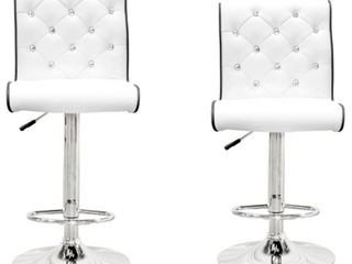 Best Master Furniture Stud Tufted Swivel Bar Stools  Set of 2  Retail 197 49
